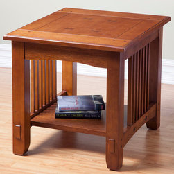 "Alpine Furniture - Mission Style End Table - Mission Style End Table; Medium Oak Finish; Product Material: Rubberwood Solids With Oak Veneer; Country of Origin: China; Dimensions: 28""L x 24""W x 24""H"