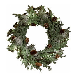 The Firefly Garden - Frosted Pine - Illuminated Floral Design - Frosted Pine Wreath shimmers with holiday spirit. Like snow touched pine branches in a winter forest, this 18″ piece makes a lovely door or window accent, as well as a table centerpiece for celebrations. The wreath is battery operated making it easy to move from entry to table, and store away for holidays each year.