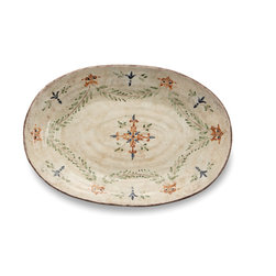 Arte Italica - Medici Large Oval Platter - Forget the silver platter. When you want to impress guests, reach for this one. It exudes old-world charm with its hand-painted vine motif interspersed with fleur-de-lis and finished with uneven edges. It's perfectly sized to hold a roast or turkey, but can also be pulled out to hold appetizers.