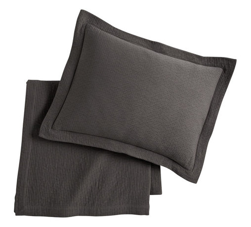 Peacock Alley - Bradley Coverlet, Graphite, Queen - Bring casual flair to your bedroom with this textural coverlet. Woven of 100 percent Egyptian cotton, it boasts classic style and is just the right weight to make it a year-round must-have.