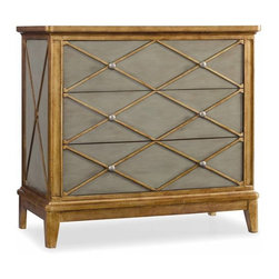 Hooker Furniture - Paxton Chest - Diamond geometric shapes, gold trim and a greenish patina conspire to create this saucy bureau. The bold design adds spunk and class to an everyday bedroom friend. Enhance your daily routine and enjoy the ritual of choosing your unmentionable undergarments each morning — wink, wink.