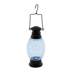 Achla - Cool Blue Crackle Glass Hanging Lantern - Can be hung or sit on a tabletop for a warm effect. Cool Blue crackled glass. Look great hanging or as a tabletop setting. Construction Material: Glass. No Assembly Required. 3.5 in. Diam.  x 10 in. H (2 lbs.)