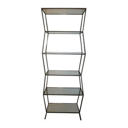 Pre-owned Steel Etagere - This zig zag etagere steel construction, brought to us by Holiday House Hamptons, is a fabulous way to incorporate your favorite decorative objects into your decor scheme in the living room. You could also use this shapely piece to store your favorite books in the study or toiletries and towels in the bathroom. Custom sizes available, please contact support for assistance.     Please note that this item is currently installed at a special event and will not be available for shipping until September 3.