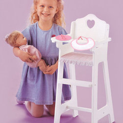Badger Basket - White Doll High Chair With Plate/Bib/Spoon - Pink Gingham - Feeding your baby doll is more fun with this special High Chair! Feeding your baby doll is more fun with this special High Chair. The pink Gingham seat liner and the heart cut-out add to the charm and complement the white finish. High chair tray really works! It lifts and lowers so it's easy to put your baby doll into the chair and take her out. Designed for 14-18 in.  Dolls. High chair is made from thick, durable MDF (wood composite) board with white finish. Fabric trim is poly/cotton and can be spot cleaned. This item is to be used with dolls only and is never to be used with real infants or pets.