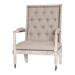 Kathy Kuo Home - Bordeaux French Country Button Tufted Taupe Loft Armchair - One look at this stately taupe armchair and you'll be reclining on its plush tufted cushions and proclaiming decrees to anyone who will listen. With ample space to get comfortable and unique jewel carving around its wooden frame, this Bordeaux chair will give your French country home a distinguished look. Or, use as a desk chair in your loft office and your work will become immediately more polished.