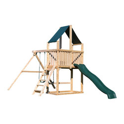 Triumph Play Systems - Triumph Play Systems Dunmore Swing Set - Bring a little more excitement to your backyard with this super fun small footprint swing set.  The Dunmore play set features a two-position swing beam with adjustable legs to accommodate un-level yards, two belt swings and a 10-foot wave slide.  Made in the USA from domestically grown Northern White Cedar.  Assembly required.