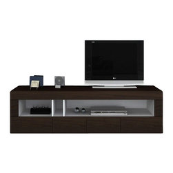 "VIG Furniture - Aura Dark Brown TV Etnertainment Unit - The Aura entertainment unit is a great addition for any living room looking to add a touch of modern design. The console is crafted from solid wood products with a stunning dark brown finish. It features a open cubby area with a white finish that contrast very well with the brown color. The cubby is perfect for all of your electronic devices. Along the bottom of the unit are four pull out drawers for additional storage. The top area can support up to a 50"" TV making it a very versatile piece."