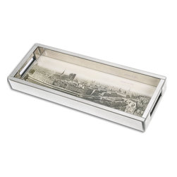 Uttermost - Uttermost Panorama De Paris Mirrored Tray 19875 - Elegant, mirrored tray encompasses the beautiful artwork of the Paris skyline on its surface.