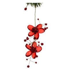 Sitara Collections - Handmade Red Acrylic Double Flower Holiday Ornament with Mini Glass Beads - Red acrylic Flowers ornament with Glass Beads.