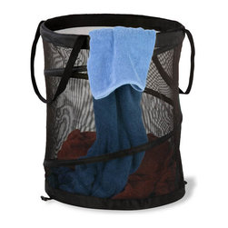 Honey Can Do - Medium Mesh Pop Open Hamper - Black - Springs open instantly. Folds flat for storage. Long carrying handles. Easy transport. Spiral steel frame. Maximum support. Mesh material. Excellent ventilation. 14 in. L x 14 in. W x 19 in. H (1.8 lbs.)Honey-Can-Do HMP-01129 Breathable Medium Mesh Pop-up Hamper, Black.  Want a hamper with a big pop? Now you've got it. This black mesh hamper pops-up to open and easily compresses flat when not in use. Hook-style clasps keep the hamper compressed while in storage.  The mesh material provides excellent ventilation allowing worn clothes to breathe and reducing unpleasant odors and mildew. Useful carrying handles make transporting clothes to the laundry room, Laundromat, or dry cleaner a breeze. Keep clothes off of the floor and your space neat and clean with this practical and fun hamper.