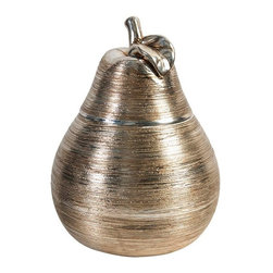 Home Decorators Collection - Gold Pear Jar - The elegant gold finish and ceramic construction make our Gold Pear Jar a sophisticated addition to your table accessories. Beautiful and practical, the jar opens just below the leaf to store small trinkets. Set the jar on a side table or kitchen island countertop to draw attention to your decor. Gold plated ceramic. Top opens.