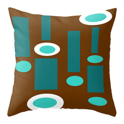 Crash Pad Designs - Crash Pad Design Throw Pillow - Sheldon - Calming colors are combined in a vibrant design in this retro-inspired pillow. This playful, mod pillow is made from 100 percent spun polyester poplin fabric, and features a hidden zipper closure and a polyester fill insert. This machine-washable pillow is just the geometric touch your sofa or daybed needs.