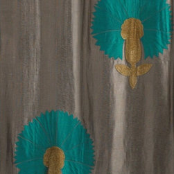 Stone Colored Tusar Silk Large Turquoise and Gold Flowers Draperies, 42x108 - Absolutely elegant, high end lined draperies or curtains. Two panels are 42 by 108.  Perfect for contemporary, traditional, French country, almost any decor.