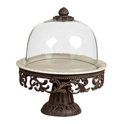 GG Collection - GG Collection Acanthus Cake Pedestal with Glass Dome - Cake Pedestal w/Glass Dome, Cream Ceramic Plate and Metal Base, Original Acanthus Leaf, Measurements: 14.5in Diax 16in H, xx lbs, Care: Ceramic is dishwasher safe, wash metal & glass in mild soap and dry with a soft cloth