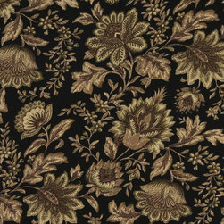 Black Green And Brown Floral Indoor Outdoor Upholstery Fabric By The Yard - This upholstery grade fabric can be used for all indoor and outdoor applications. It is Scotchgarded, and is mildew, fade, water, and bacteria resistant. This fabric is made in America!