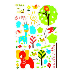 Blancho Bedding - Cute Animals - Wall Decals Stickers Appliques Home Decor - The decals are made of a high quality, waterproof, and durable vinyl and will stick to any smooth surface such as walls, doors, glass, cabinets, appliances, etc. You can add your own unique style in minutes! This decal is a perfect gift for friend or family who enjoy decorating their homes. Imaginative art for you and won't damage your walls! Without much effort and cost you can decorate and style your home. Quick and easy to apply~!!!
