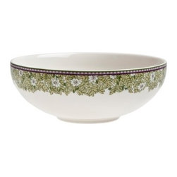 Denby Daisy Soup / Cereal Bowl - Set of 4 - Denby does is again with the quaint and delicate Denby Daisy Soup/Cereal Bowl- Set of 4. These fine cream china bowls have a delicate shape rimmed by an intricate leafy daisy design. Who wouldn't want this soft white, pale green and lavendar confection on their table? Better yet, they're microwave and dishwasher safe.About DenbyDenby has its roots in England, where skilled craftsman have been making pottery using traditional methods for over 200 years. Though the time and styles have changed, Denby has kept pace, and today continues to make high-quality, beautiful, and timeless dinnerware. From its humble roots, Denby has spread all over the world, and is a top choice for brides and families looking to spruce up their dining sets. Even better, all of Denby's products are made for the modern kitchen, and are dishwasher-, oven-, microwave-, and freezer-safe.