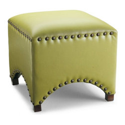 Grandin Road - Arched Nailhead Ottoman in Textured Citrine - Upholstered in textured Citrine leather. Supportive cushion. Dark espresso hardwood legs. Arrives fully assembled. Versatility abounds with our bold combination of vibrant textured leather and oversized nailhead trim in our Arched Nailhead Ottoman in Textured Citrine. Add our sculpted ottoman to a sitting room, bedroom, or entryway; combine it with the other profiles and colors in our Ottoman Trilogy.. . . .