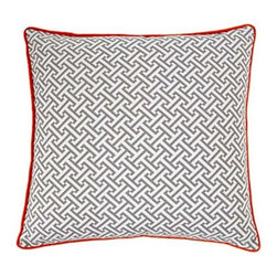 Jiti Pillows - Maze Poly Square Pillow in Grey / Orange - Features: -Color: Grey/Orange. -Material: 100% Cotton. -95% Feather, 5% down insert. -Indoor use. -Come with zipper. -Dry clean only.