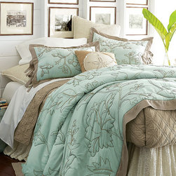 Heirloom Floral Quilt - A serene look for the master bed in soft, tranquil tones, this lovely quilt is embellished with dori embroidery, a type of fine Indian stitchwork that creates the look of a pencil drawing.