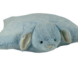 Bunny Floor Cushion - The perfect floor pillow for kids of all ages.  The super soft plush animal features a velcro closure that when opened, allows the animal to lay flat on the floor.  Spot Clean Only.  100% polyester cover and fill