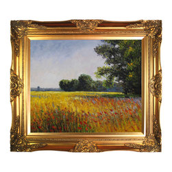 """overstockArt.com - Monet - Oat Fields Oil Painting - 20"""" x 24"""" Oil Painting On Canvas Need Help Decorating your Home? Click Here to get Inspired! Hand painted oil reproduction of a famous Monet painting, Oat Fields. Also called Champ d'avoine. Today it has been carefully recreated detail-by-detail, color-by-color to near perfection. Why settle for a print when you can add sophistication to your rooms with a beautiful fine gallery reproduction oil painting? While Monet successfully captured life's reality in many of his works, his aim was to analyze the ever-changing nature of color and light. Known as the classic Impressionist, Monet cannot help but inspire deep admiration for his talent in those who view his work. This work of art has the same emotions and beauty as the original. Why not grace your home with this reproduced masterpiece? It is sure to bring many admirers!"""