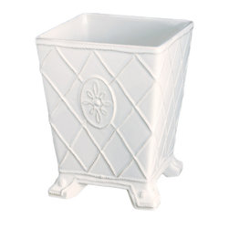 Jardins Du Monde Wastebasket - Whitewash - The Jardins du Monde ceramic Wastebasket is far more than just that - though designed to disguise discarded articles in a bedroom or bath, the footed and tapered ceramic container is also ideal for serving as a cachepot that gives potted plants or dense floral bouquets a touch of class, distinction, and elite presentation that is readily reminiscent of the formal period of French garden design.