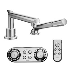 Moen - Moen TS92004 Arris Chrome Roman Tub Faucet with Hand Shower Iodigital Technology - Moen TS92004 Arris Chrome Roman Tub Faucet Includes Hand Shower Iodigital Technology. Arris Accessories offer sharp angles and tubular lines that dominate each piece in this modern collection, not just with style but with functional products also. This Chrome Roman Tub Faucet with ioDIGITAL technology brings High-End technology into your bath, and completes the overall look and design of your bathroom. Imagine yourself controlling the bath temperature from the other room wirelessly, that's exactly what ioGIGITAL does, puts you in control of precise temperature, flow and custom presets, providing the ultimate blend of technology and luxury. Also includes Hand Shower for those hard to reach places and full coverage, and the limited lifetime warranty.
