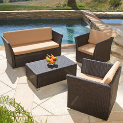 Christopher Knight Home Brown 4-piece All-weather Wicker Patio Furniture Sofa Se -