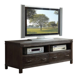 Riverside Furniture - Riverside Furniture Promenade 60 Inch TV Console in Warm Cocoa - Riverside Furniture - TV Stands - 84540 - Riverside's products are designed and constructed for use in the home and are generally not intended for rental commercial institutional or other applications not considered to be household usage. Riverside uses furniture construction techniques and select materials to provide quality durability and value in their products. The construction of Riversides core product line consists of a combination of cabinetmaker hardwood solids and hand-selected veneers applied over medium density fiberboard (MDF) and particle board. MDF and particle board are used in quality furniture for surfaces that require stability against the varying environmental conditions in modern homes.You'll appreciate the multiple-step application of Riverside's furniture finishes. Their finishing processes involve several steps of hand sanding applications of several types of finishing coats padding and polishing.