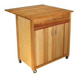 Catskill Craftsmen - Kitchen Cart - Features: -Material: Sustainably harvested domestic hardwood.-Solid wood and warp-resistant hardwood veneer.-Adjustable internal shelf.-Drawer and cabinet storage.-Metal drawer glides.-Locking caster wheels.-Mid-size.-Made in the USA.-Adjustable shefl positions: 1) 14.75'' from bottom 2) 17.25'' from bottom.-Oiled finish.-Collection: Mid Size.-Distressed: No.-Country of Manufacture: United States.-Product Type: Kitchen Cart.-Base Finish: Natural Wood.-Counter Finish: Natural Wood.-Hardware Finish: Nickel plated.-Powder Coated Finish: No.-Gloss Finish: No.-Base Material: Yellow Birch.-Counter Material: Yellow Birch.-Hardware Material: Nickel plated.-Solid Wood Construction: No.-Stain Resistant: No.-Warp Resistant: No.-Exterior Shelves: No.-Drawers Included: Yes -Number of Drawers: 1.-Push Through Drawer: No.-Drawer Glide Extension: Yes.-Dovetail Joints: No.-Drawer Dividers: No.-Drawer Handle Design: Pull.-Silverware Tray : No.-Number of Drawers: 1.-Push Through Drawer: No.-Drawer Glide Extension: Yes.-Dovetail Joints: No.-Drawer Dividers: No.-Drawer Handle Design: Pull.-Silverware Tray : No.-Number of Drawers: 1.-Push Through Drawer: No.-Drawer Glide Extension: Yes.-Dovetail Joints: No.-Drawer Dividers: No.-Drawer Handle Design: Pull.-Silverware Tray : No.-Number of Drawers: 1.-Push Through Drawer: No.-Drawer Glide Extension: Yes.-Dovetail Joints: No.-Drawer Dividers: No.-Drawer Handle Design: Pull.-Silverware Tray : No..-Cabinets Included: Yes -Number of Cabinets : 1.-Double Sided Cabinet: No.-Number of Interior Shelves: 2.-Adjustable Interior Shelves: Yes.-Number of Doors: 2.-Magnetic Door Catches: Yes.-Locking Doors: No.-Door Handle Design: Pull.-Number of Cabinets : 1.-Double Sided Cabinet: No.-Number of Interior Shelves: 2.-Adjustable Interior Shelves: Yes.-Number of Doors: 2.-Magnetic Door Catches: Yes.-Locking Doors: No.-Door Handle Design: Pull.-Number of Cabinets : 1.-Double Sided Cabinet: No.-Number of Interior Shelves: 2.-Adjustable Interior Shelves: Yes.-Number of Doors: 2.-Magnetic Door Catches: Yes.-Locking Doors: No.-Door Handle Design: Pull.-Number of Cabinets : 1.-Double Sided Cabinet: No.-Number of Interior Shelves: 2.-Adjustable Interior Shelves: Yes.-Number of Doors: 2.-Magnetic Door Catches: Yes.-Locking Doors: No.-Door Handle Design: Pull..-Towel Rack: Yes -Removable Towel Rack: Yes.-Removable Towel Rack: Yes.-Removable Towel Rack: Yes.-Removable Towel Rack: Yes..-Pot Rack: No.-Spice Rack: No.-Cutting Board: Yes.-Drop Leaf: Yes.-Drain Groove: No.-Trash Bin Compartment: No.-Stools Included: No.-Casters: Yes -Locking Casters: Yes.-Removable Casters: Yes.-Locking Casters: Yes.-Removable Casters: Yes.-Locking Casters: Yes.-Removable Casters: Yes.-Locking Casters: Yes.-Removable Casters: Yes..-Wine Rack: No.-Stemware Rack: No.-Cart Handles: Yes.-Finished Back: Yes.-Weight Capacity: 300 lbs.-Shelf Weight Capacity: 100 lbs.-Swatch Available: No.-Commercial Use: Yes.-Recycled Content: No.-Eco-Friendly: Yes.-Product Care: Oil regularly with mineral oil.Specifications: -ISTA 3A Certified: No.Dimen
