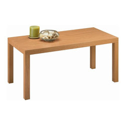 Dorel Home Products - Parsons Coffee Table in Natural Finish - Contemporary style. Multi-use. Hollow core construction with MDF laminate. Wood grain durable finish. Warranty: One year. Minimal assembly required. 39 in. W x 17.6 in. D x 19 in. H (12 lbs.)Paired with the matching end tables this set makes the perfect combination for your modern living area.
