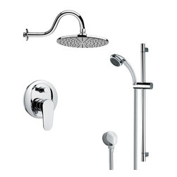 Remer - Round Polished Chrome Rain Shower Faucet with Slide Rail - Multi function shower faucet.