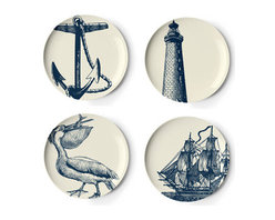 "Scrimshaw Dessert Plate Set - You can display these plates as art for a ""traditional with a twist"" look."