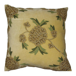 Crewel Fabric World - Crewel Pillow Amarylo Beige Cotton Velvet 16x16 Inches - Hand embroidered with 100% wool on cotton base
