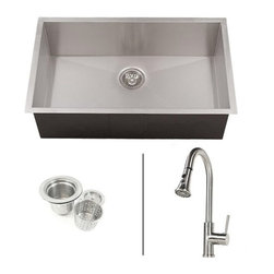 """Ariel - 30 Inch Zero Radius Undermount Single Bowl Kitchen Sink & Lead Free Faucet Combo - Ariel design zero radius undermount kitchen sink with Stainless Steel lead free faucet combo. Individually Hand crafted from 16 gauge T-304 stainless steel with a cutting-edge zero radius corners. Exterior Dimensions 30"""" x 18"""" x 10"""". Interior Dimensions 28"""" x 16"""" x 10""""Includes Ariel European Design Stainless Steel Kitchen Faucet with 360 degree swivel spout with dual sprayer stream or spray control. Single Lever Operation. Single Hole Installation. Brushed Stainless Steel Finish. Lead Free AB 1953 Compliant."""