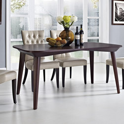 Modway - Enterprise Walnut Wood Dining Table - The Enterprise is an elliptical-shaped dining table that will add an airy feel to any living space. Designed with outspread tapered legs and a reverse-beveled edge,this modern walnut table is warmly complimented by a seamless and elegant design.