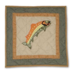 Patch Magic - Fly Fishing Fish Toss Pillow - 16 in. W x 16 in. L. 100% Cotton. Machine washable.. Line or flat dry onlyDecorative applique Quilted Pillow.