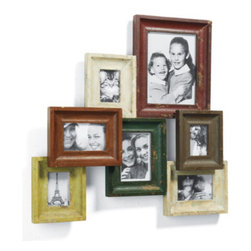 Grandin Road - Vintage Seven-frame Photo Collage - Hangs in one piece. Hand painted and distressed finishes with glass coverings. Neutral color scheme matches any decor. Arrives ready to hang horizontally or vertically. With our Vintage Frame Photo Collage you can creatively arrange your collection of photos and memorabilia with ease. A variety of hand-painted neutral hues and distressed finishes add extra personality to your family portraits.  .  .  . .