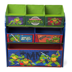 Adarn Inc - Youth Ninja Turtles 6 Fabric Removable Bins Storage Toy Book Organizer - Millions of families worldwide trust Children to provide safe, high quality children products. Morph a messy room into a clutter-free zone with this organizer! Featuring six uniquely sized fabric bins supported by a sturdy wood frame, it's finished with colorful illustrations of boy's favorite turtles, Leonardo, Raphael, Donatello and Michelangelo. A fun option for easy organization of toys large and small, it encourages kids to clean up in record time. Some assembly required. Complements other items sold separately online by children's products.