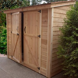 Outdoor Living Today SS84D SpaceSaver 8 x 4 ft. Double Door Storage Shed - The Outdoor Living Today SS84 SpaceSaver 8 x 4 ft. Double Door Storage Shed could be just what you need to store your accumulating arsenal of gardening tools and outdoor gaming equipment. Made with attractive sturdy Western red cedar this tool shed features a mahogany veneer on the interior panels and a cedar shake roof. Plus a fixed window includes a flower box to add a pleasant natural touch. Assembly is a weekend project for one or two people. One-year limited warranty included. Dimensions Exterior: 8.7W x 3.9D x 7.9H feet Interior: 7.6W x 3.4D x 7.7H feet Door: 5.2W x 6H feet About Cedar WoodCedar wood is lightweight and resistant to both cracking and moisture rot. The oils of this resilient wood guard against insect attack and decay and their distinctive aroma acts as a mild insect repellant. Cedar is a dependable choice for outdoor furniture either as a finished or unfinished wood. Over time unfinished cedar left outdoors will weather to a silvery gray patina. This natural process does not compromise the strength or integrity of the wood. Another great aspect of cedar is its environmental effect - which is minimal. A renewable resource cedar wood emits low greenhouse gases. So rest assured knowing that your beautiful cedar furniture is a green choice too! About Outdoor Living TodayOutdoor Living Today has a simple goal. That goal is to provide the best wood products to the marketplace at the best value. Established in 1974 Outdoor Living Today has a well-earned reputation for making products that are functional durable attractive and affordable. Products are designed so that the average person with limited building skills can assemble them. Gazebos sheds playhouses and pergolas are all uniquely designed and constructed from beautiful Western red cedar.