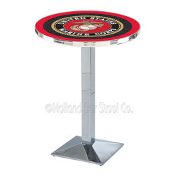 Holland Bar Stool - Holland Bar Stool L217 - Chrome U.S. Marines Pub Table - L217 - Chrome U.S. Marines Pub Table  belongs to Military Collection by Holland Bar Stool Made for the ultimate sports fan, impress your buddies with this knockout from Holland Bar Stool. This L217 U.S. Marines table with square base provides a commercial quality piece to for your Man Cave. You can't find a higher quality logo table on the market. The plating grade steel used to build the frame ensures it will withstand the abuse of the rowdiest of friends for years to come. The structure is triple chrome plated to ensure a rich, sleek, long lasting finish. If you're finishing your bar or game room, do it right with a table from Holland Bar Stool.  Pub Table (1)