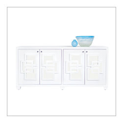Worlds Away Crosby Entertainment Console., White - Worlds Away Crosby Entertainment Console in white lacquer.