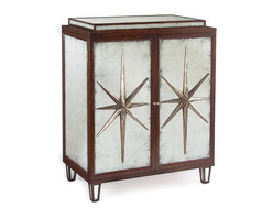 Kathy Kuo Home - Sorell Hollywood Regency Espresso Silver Leaf Mirrored Star Bar Sideboard - Like the femme fatal in an old film noir, you can tell in one look that this dark beauty has a history.  Classic 1930's lines and a star motif come together to create a glamorous, bold art deco statement.