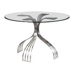 Chintaly - Glass-Topped Round Pedestal Dining Table with - Beveled edge glass top. Metal base. Brushed nickel finish. Minimal assembly required. Table Top: 48 in. W x 48 in. L x 0.5 in. H