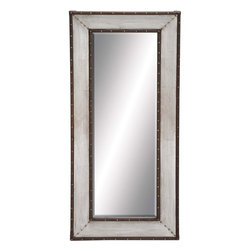 Benzara - Metal Wall Mirror with Thick and Broad Frame - Ideal to check your reflection, this mirror can be fixed to the walls of your living room. It is designed in a rectangular shape that is much taller than its width. The frame is thick and broad, and is bestowed with a silver metallic finish. On both sides of the metallic frame are the brown beading with brass like rivets that further enhance the looks of the mirror. The vintage inspired design of this metal wall mirror reveals its stunning beauty and luxurious pattern. When hanged on the walls of your bedroom above the dresser, this rectangular mirror is sure to bring a magnificent look, and help you dress up and make a complete makeover. This finely detailed mirror is great to add a sense of style to your living space. Moreover, the mirror is highly polished for a perfect reflective surface for a lifetime.