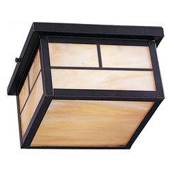 Joshua Marshal - Two Light Burnished Honey Glass Outdoor Flush Mount - Two Light Burnished Honey Glass Outdoor Flush Mount
