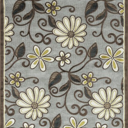 "Loloi Rugs - Loloi Rugs Halton Collection - Grey, 3'-10"" x 5'-7"" - The colors are vivid and the transitional designs are appealing, but what really stands out in Halton is the details. Take a closer look (or zoom in) and you'll notice Halton was expertly designed with subtle shadings and intricate patterns to give it the appearance of a hand-crafted rug. Power loomed in Turkey, the viscose surface is raised against a chenille base, giving Halton an element of dimension and texture that adds character and enhances perceived value. Also, the viscose surface has an irresistible shimmer, which further adds to its sophisticated appearance."