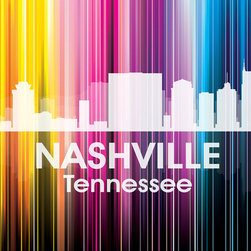 Nashville TN Vertical-Lined Rainbow Print - Best know for country music, the Grand Ole Opry and Oprah, the city of Nashville shines bright in a rainbow of color. Show off a little city pride with the digital and photographic layers on this mixed-media art.