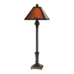 Dale Tiffany - Dale Tiffany TB11012 Mica Traditional Buffet Lamp - Clean lines and simplicity in the design come together in an aristocratic buffet lamp that will work well in any room in your home or office. The rich, deep amber art glass panels in the mission style shade will glow warmly when the lamp is lit. The stately metal base, finished in fieldstone features pebble detailing around the bottom.